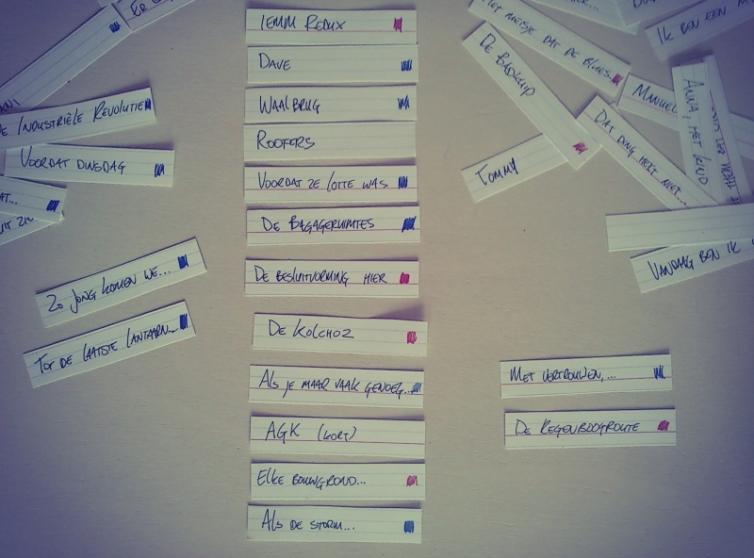 Cut-up setlist